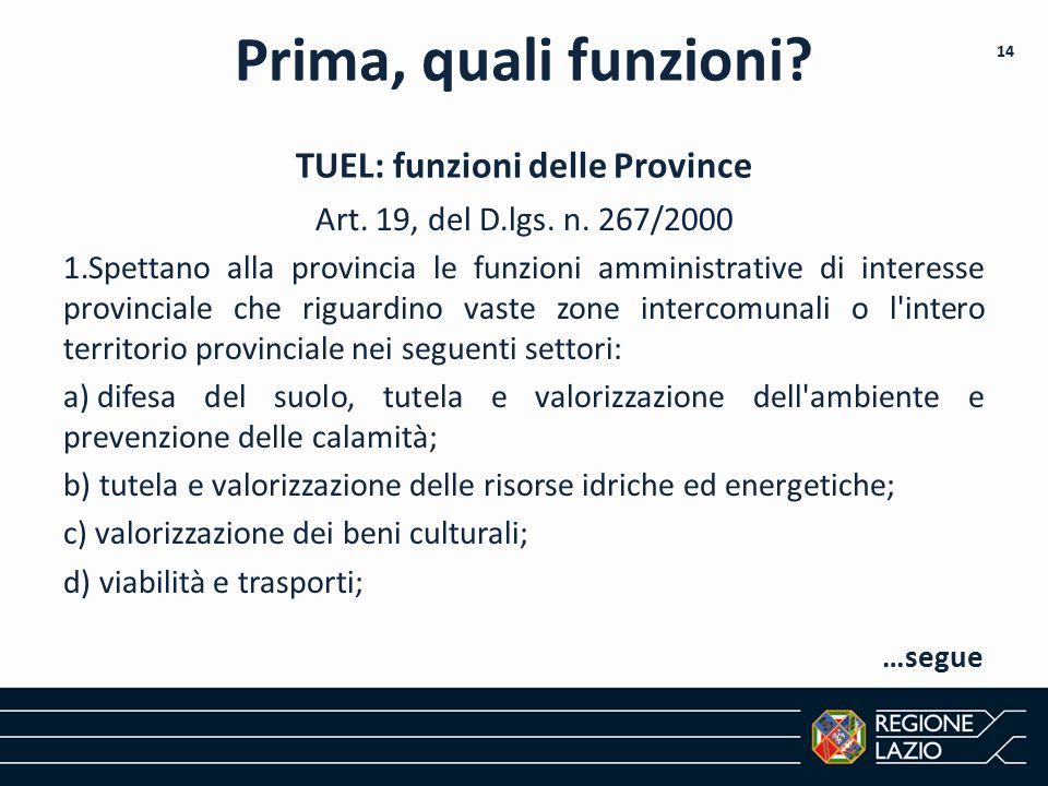Art. 19, del D.lgs. n. 267/2000 1.Spettano alla provincia le funzioni amministrative di interesse provinciale che riguardino vaste zone intercomunali
