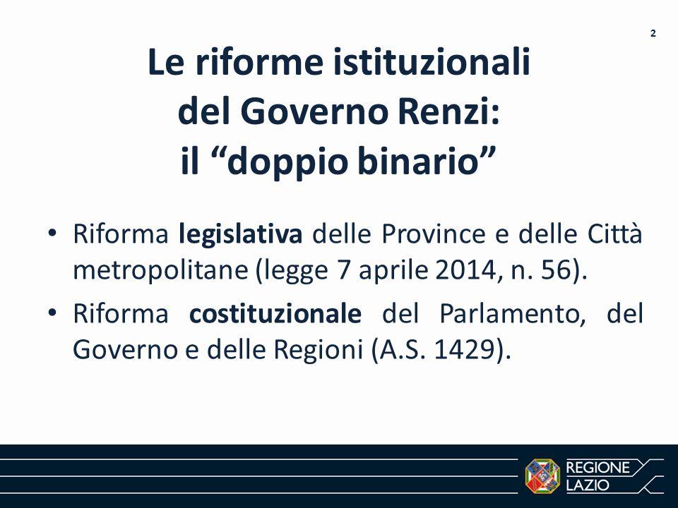 """Le riforme istituzionali del Governo Renzi: il """"doppio binario"""" Riforma legislativa delle Province e delle Città metropolitane (legge 7 aprile 2014, n"""