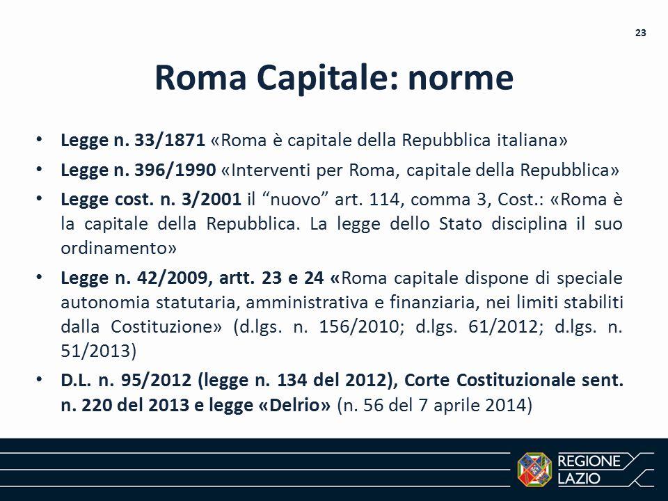 Roma Capitale: norme Legge n. 33/1871 «Roma è capitale della Repubblica italiana» Legge n. 396/1990 «Interventi per Roma, capitale della Repubblica» L