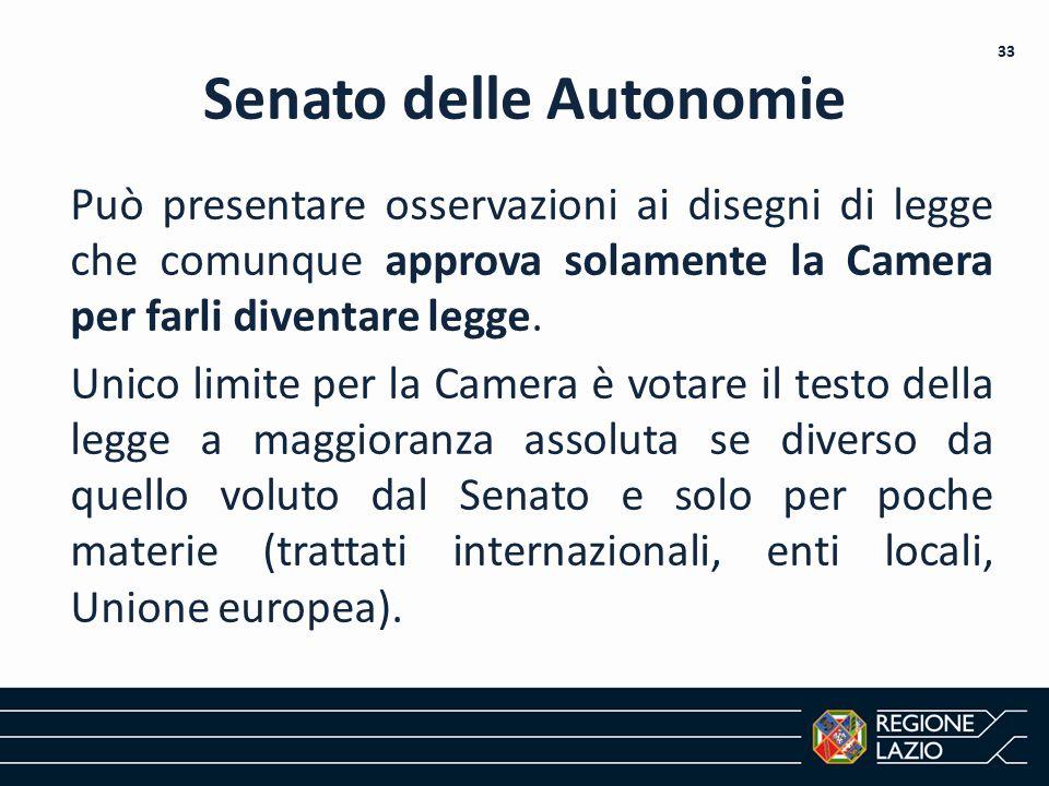 Senato delle Autonomie Può presentare osservazioni ai disegni di legge che comunque approva solamente la Camera per farli diventare legge. Unico limit