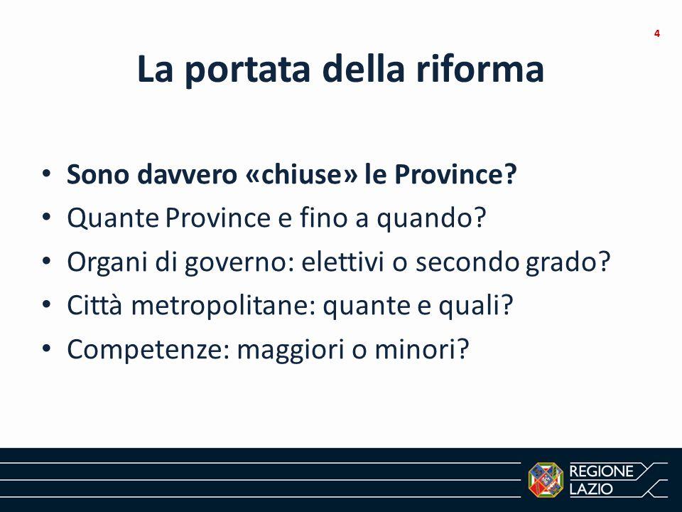 La portata della riforma Sono davvero «chiuse» le Province? Quante Province e fino a quando? Organi di governo: elettivi o secondo grado? Città metrop