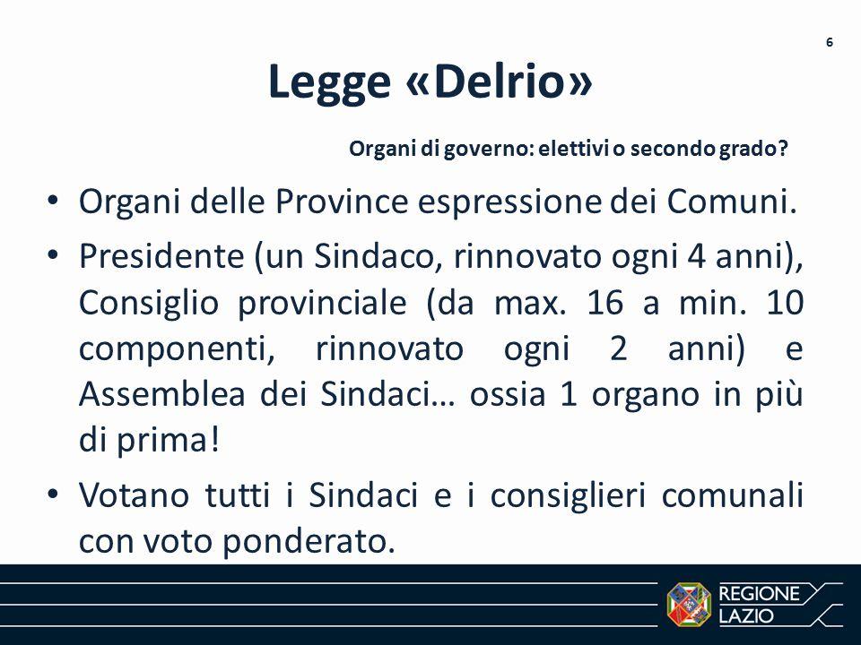 Legge «Delrio» Organi delle Province espressione dei Comuni. Presidente (un Sindaco, rinnovato ogni 4 anni), Consiglio provinciale (da max. 16 a min.