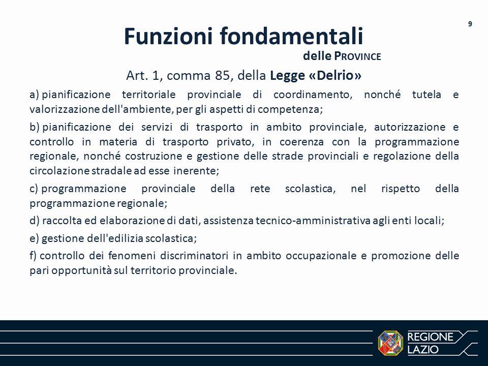 Art. 1, comma 85, della Legge «Delrio» a) pianificazione territoriale provinciale di coordinamento, nonché tutela e valorizzazione dell'ambiente, per