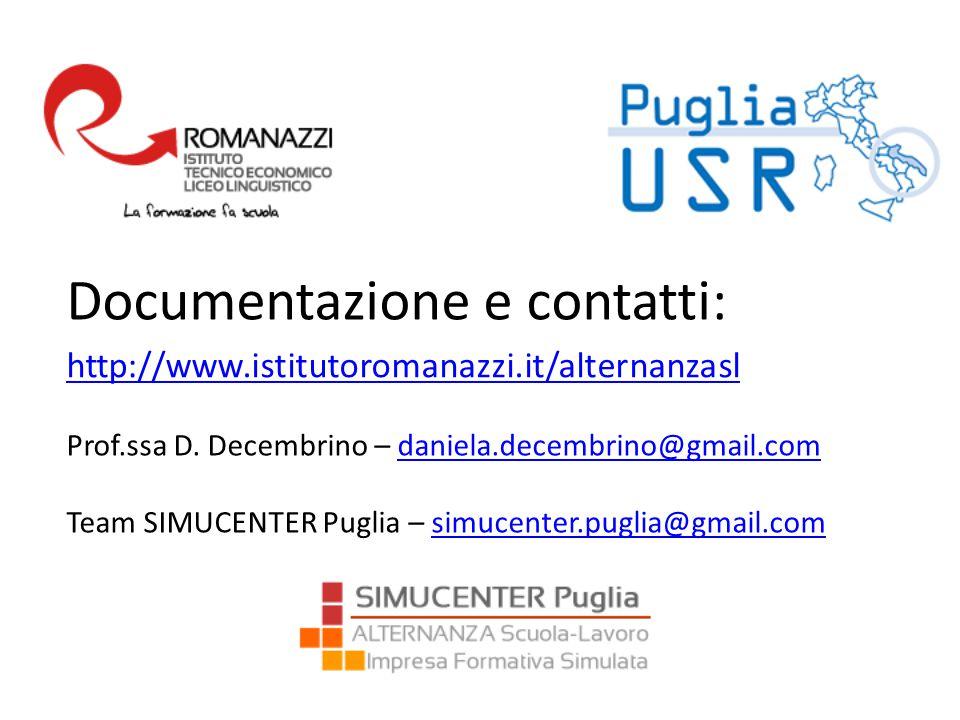 Prof.ssa D. Decembrino – daniela.decembrino@gmail.comdaniela.decembrino@gmail.com Team SIMUCENTER Puglia – simucenter.puglia@gmail.comsimucenter.pugli