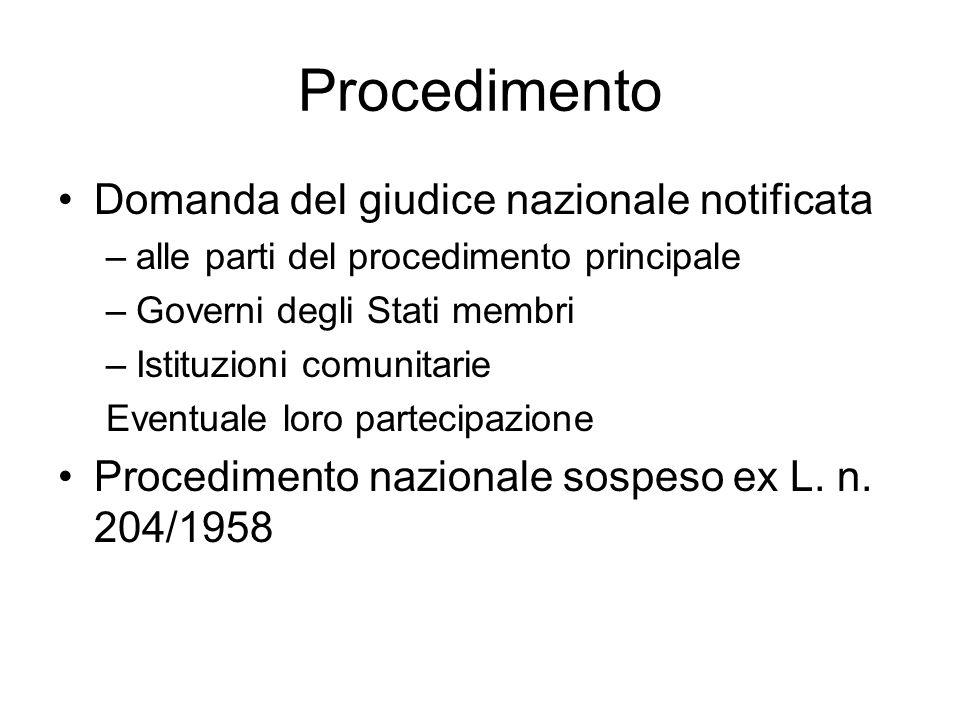 Procedimento Domanda del giudice nazionale notificata –alle parti del procedimento principale –Governi degli Stati membri –Istituzioni comunitarie Eve