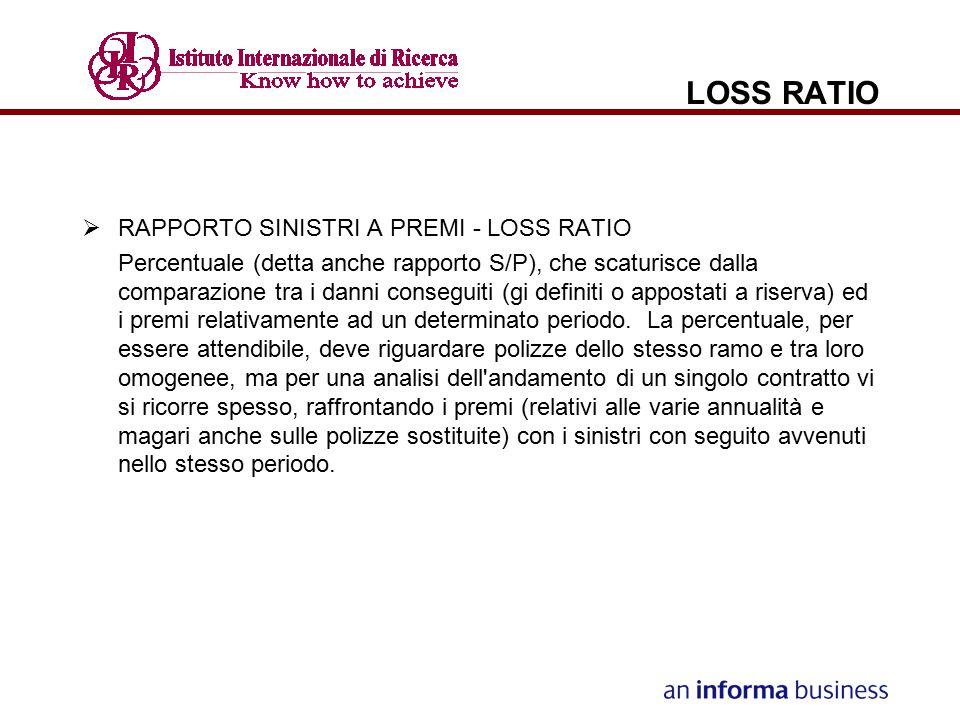 LOSS RATIO  RAPPORTO SINISTRI A PREMI - LOSS RATIO Percentuale (detta anche rapporto S/P), che scaturisce dalla comparazione tra i danni conseguiti (
