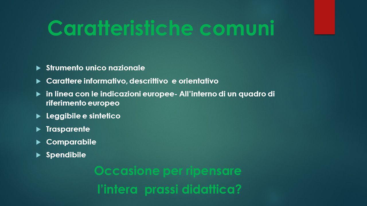 Caratteristiche comuni  Strumento unico nazionale  Carattere informativo, descrittivo e orientativo  in linea con le indicazioni europee- All'inter