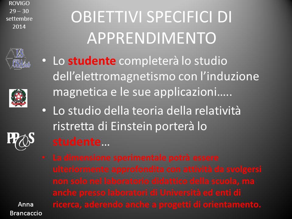 ROVIGO 29 – 30 settembre 2014 Anna Brancaccio OBIETTIVI SPECIFICI DI APPRENDIMENTO Lo studente completerà lo studio dell'elettromagnetismo con l'induzione magnetica e le sue applicazioni…..