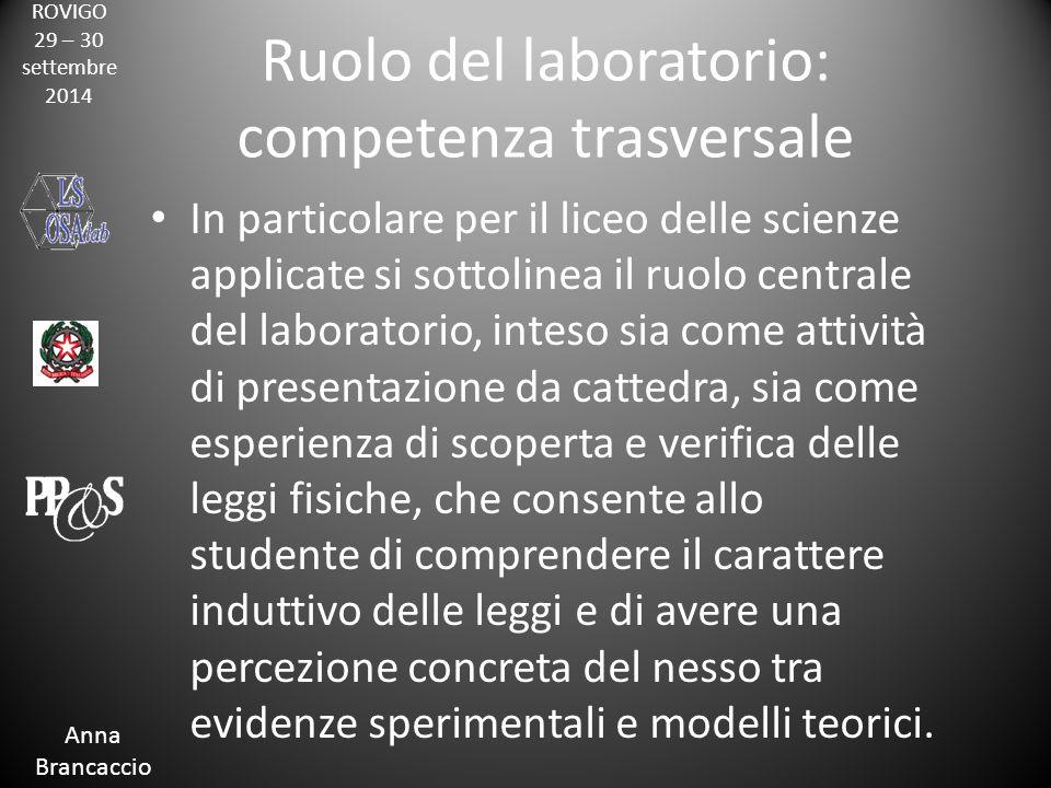ROVIGO 29 – 30 settembre 2014 Anna Brancaccio Ruolo del laboratorio: competenza trasversale In particolare per il liceo delle scienze applicate si sot