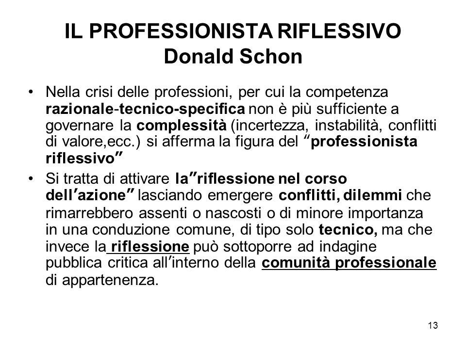 13 IL PROFESSIONISTA RIFLESSIVO Donald Schon Nella crisi delle professioni, per cui la competenza razionale-tecnico-specifica non è più sufficiente a