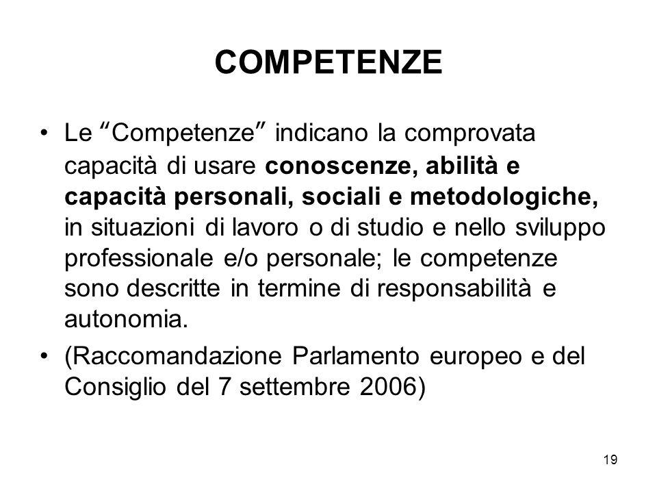 """19 COMPETENZE Le """"Competenze"""" indicano la comprovata capacità di usare conoscenze, abilità e capacità personali, sociali e metodologiche, in situazion"""