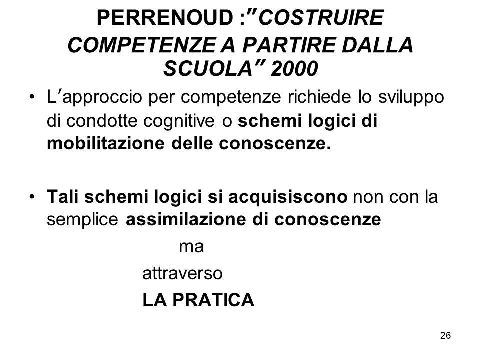 """26 PERRENOUD :""""COSTRUIRE COMPETENZE A PARTIRE DALLA SCUOLA"""" 2000 L'approccio per competenze richiede lo sviluppo di condotte cognitive o schemi logici"""