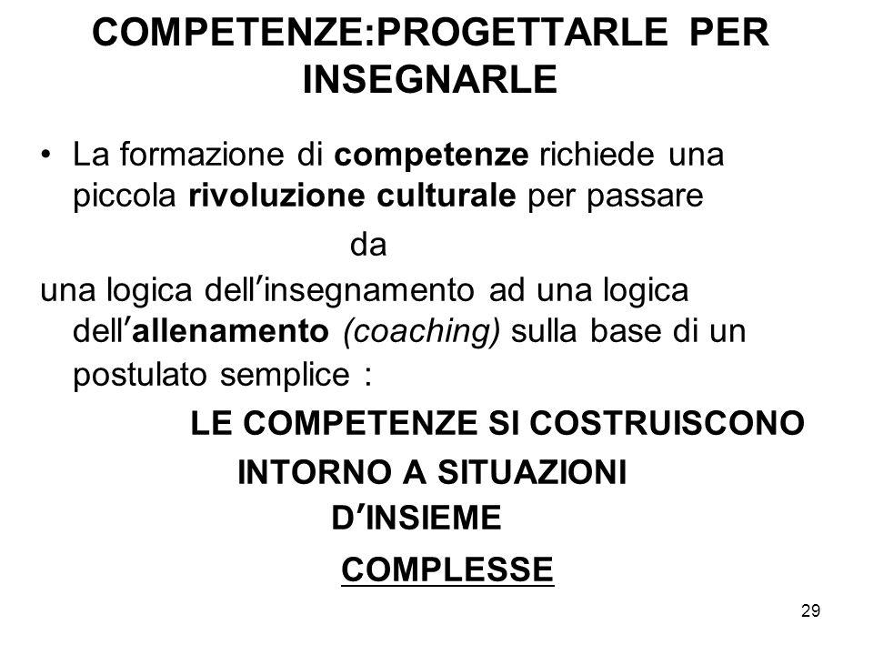 29 COMPETENZE:PROGETTARLE PER INSEGNARLE La formazione di competenze richiede una piccola rivoluzione culturale per passare da una logica dell'insegna