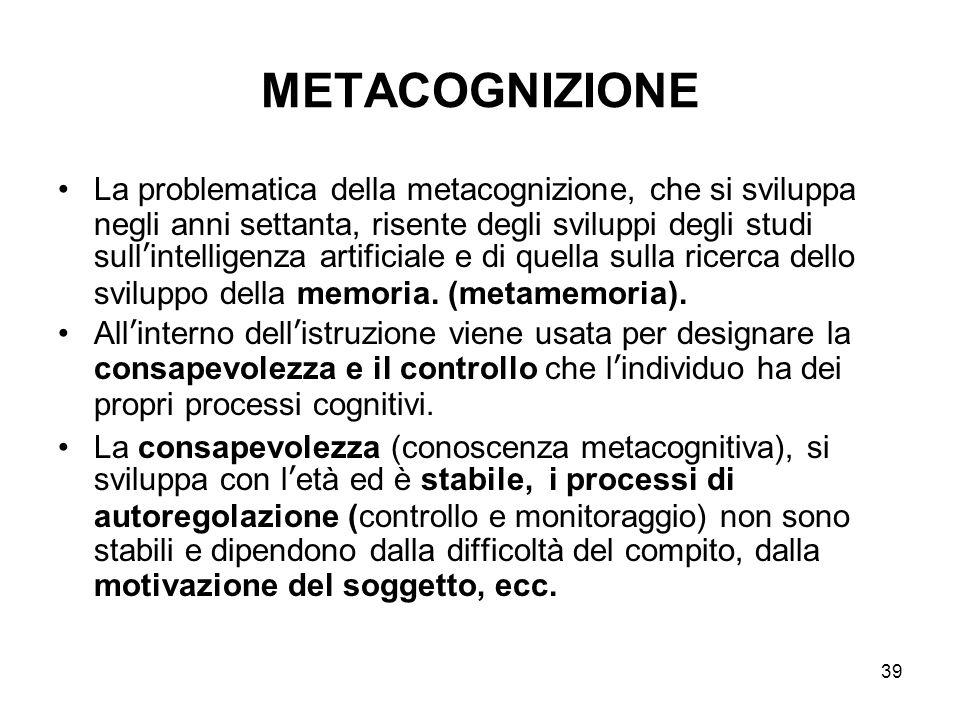 39 METACOGNIZIONE La problematica della metacognizione, che si sviluppa negli anni settanta, risente degli sviluppi degli studi sull'intelligenza arti