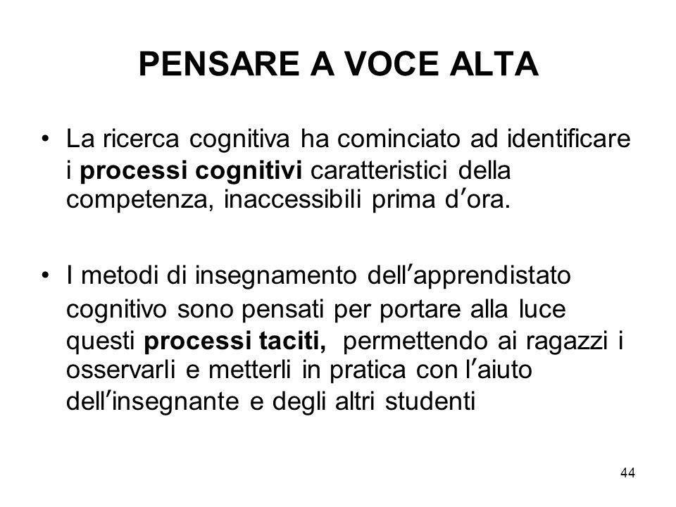 44 PENSARE A VOCE ALTA La ricerca cognitiva ha cominciato ad identificare i processi cognitivi caratteristici della competenza, inaccessibili prima d'