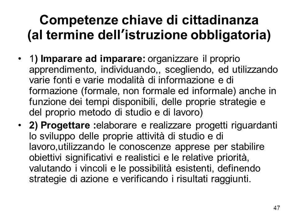 47 Competenze chiave di cittadinanza (al termine dell'istruzione obbligatoria) 1) Imparare ad imparare: organizzare il proprio apprendimento, individu