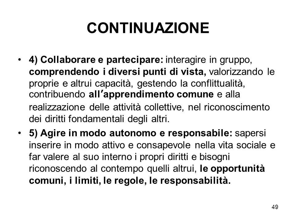 49 CONTINUAZIONE 4) Collaborare e partecipare: interagire in gruppo, comprendendo i diversi punti di vista, valorizzando le proprie e altrui capacità,