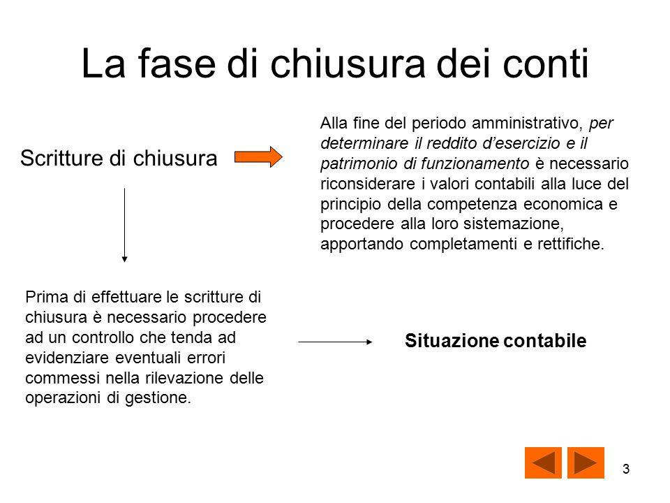 2 La fase di chiusura dei conti Durante l'esercizio la contabilizzazione delle operazioni di gestione aziendale si ha nel momento della manifestazione finanziaria.