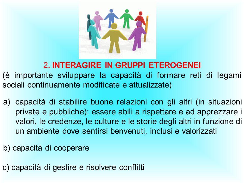 2. INTERAGIRE IN GRUPPI ETEROGENEI (è importante sviluppare la capacità di formare reti di legami sociali continuamente modificate e attualizzate) c)