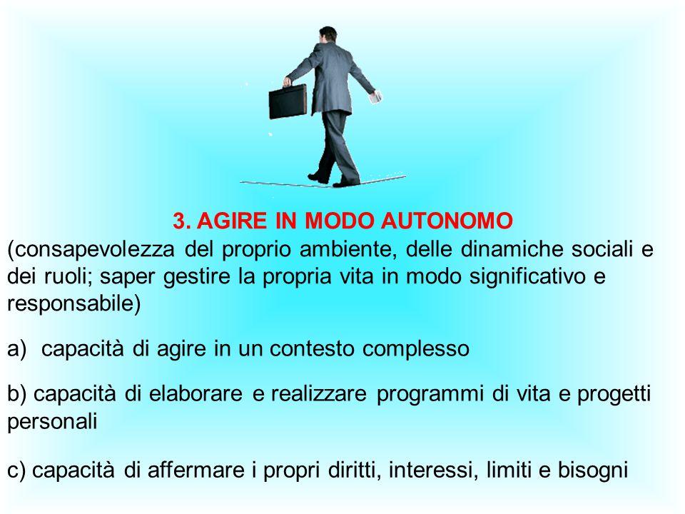 3. AGIRE IN MODO AUTONOMO (consapevolezza del proprio ambiente, delle dinamiche sociali e dei ruoli; saper gestire la propria vita in modo significati