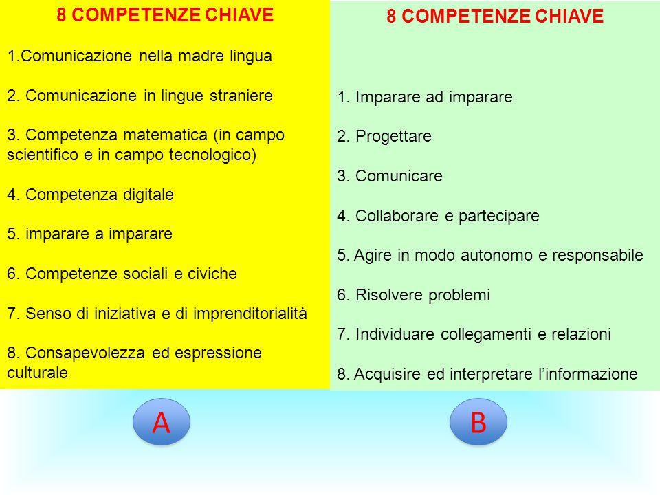 8 COMPETENZE CHIAVE 1.Comunicazione nella madre lingua 2. Comunicazione in lingue straniere 3. Competenza matematica (in campo scientifico e in campo