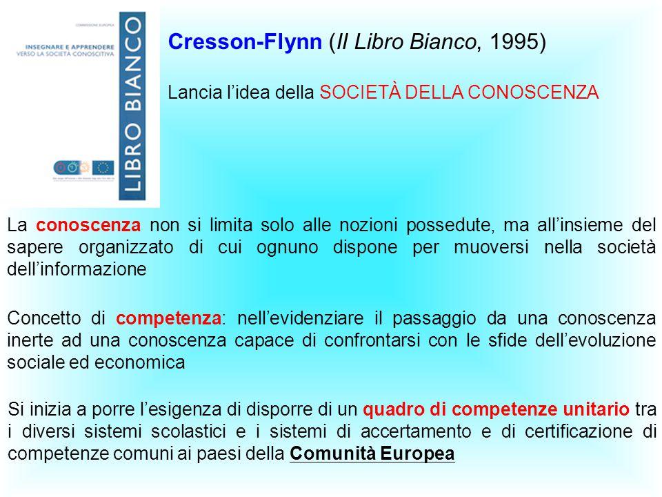 Cresson-Flynn (II Libro Bianco, 1995) Lancia l'idea della SOCIETÀ DELLA CONOSCENZA La conoscenza non si limita solo alle nozioni possedute, ma all'ins