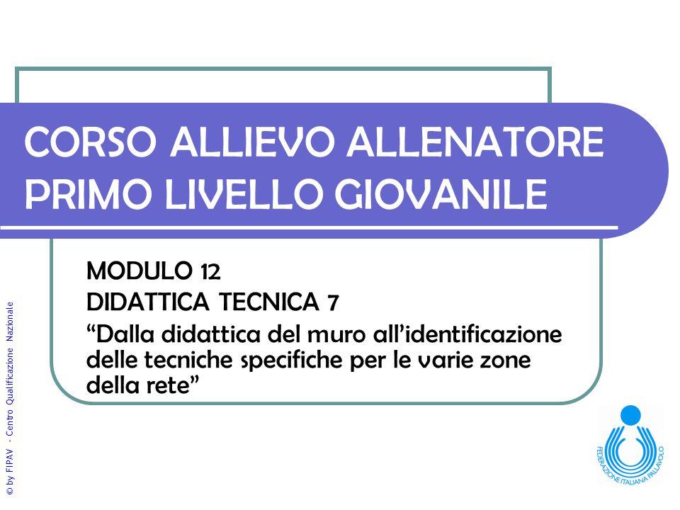 """© by FIPAV - Centro Qualificazione Nazionale CORSO ALLIEVO ALLENATORE PRIMO LIVELLO GIOVANILE MODULO 12 DIDATTICA TECNICA 7 """"Dalla didattica del muro"""