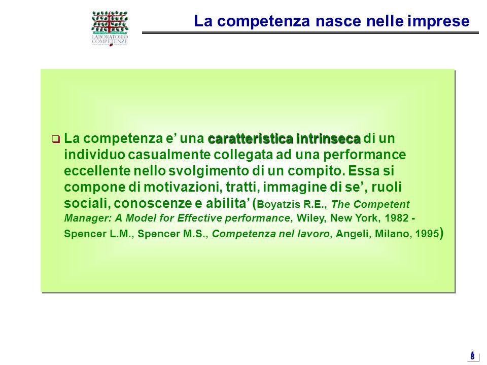 1818 caratteristica intrinseca  La competenza e' una caratteristica intrinseca di un individuo casualmente collegata ad una performance eccellente ne