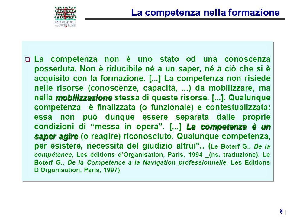 2020 La competenza nella formazione mobilizzazione La competenza è un saper agire  La competenza non è uno stato od una conoscenza posseduta. Non è r
