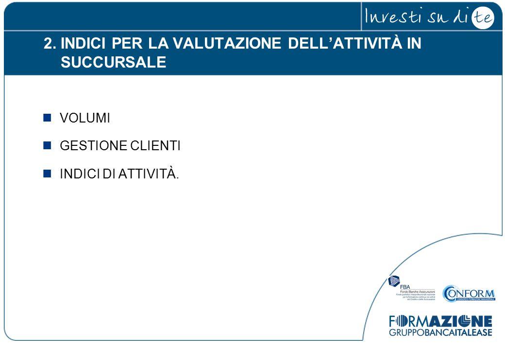 2. INDICI PER LA VALUTAZIONE DELL'ATTIVITÀ IN SUCCURSALE VOLUMI GESTIONE CLIENTI INDICI DI ATTIVITÀ.