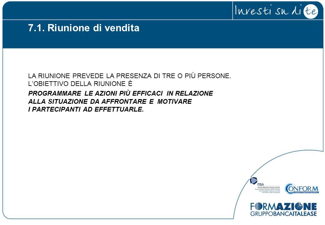 7.1. Riunione di vendita LA RIUNIONE PREVEDE LA PRESENZA DI TRE O PIÙ PERSONE.
