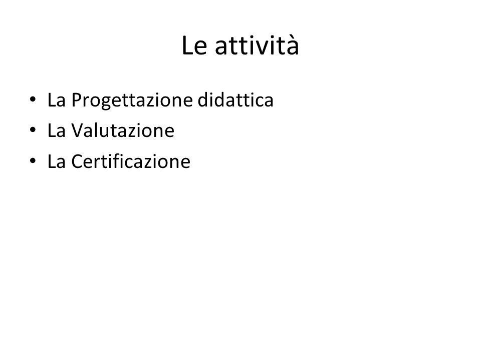 Le attività La Progettazione didattica La Valutazione La Certificazione