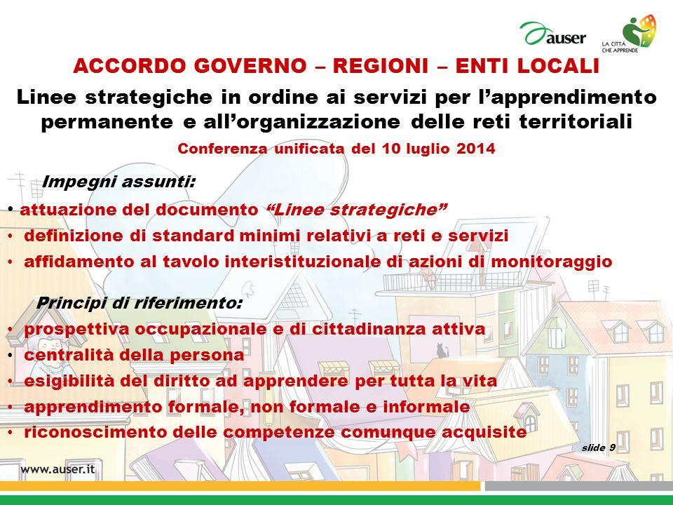 ACCORDO GOVERNO – REGIONI – ENTI LOCALI Linee strategiche in ordine ai servizi per l'apprendimento permanente e all'organizzazione delle reti territor