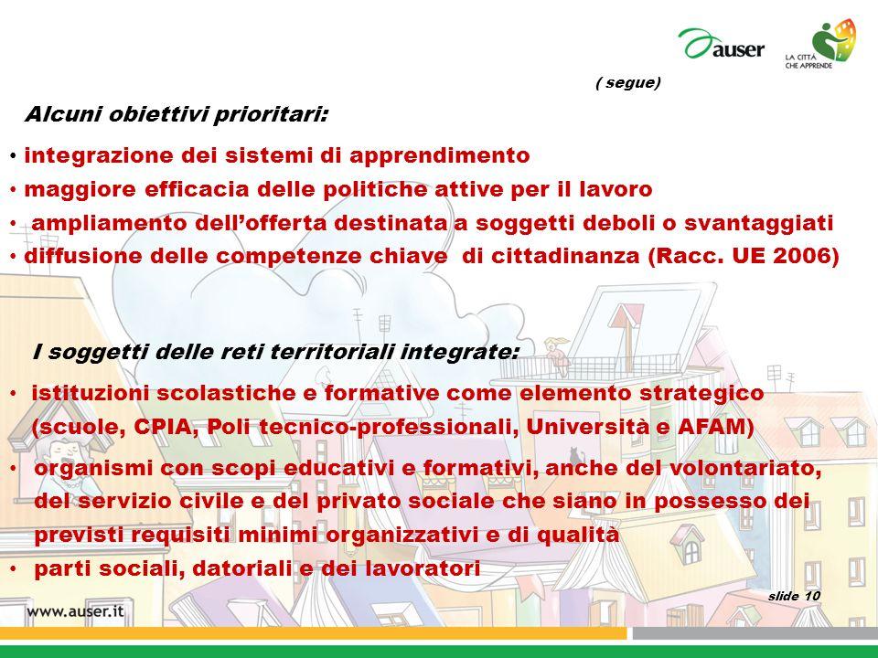 ( segue) Alcuni obiettivi prioritari: integrazione dei sistemi di apprendimento maggiore efficacia delle politiche attive per il lavoro ampliamento de