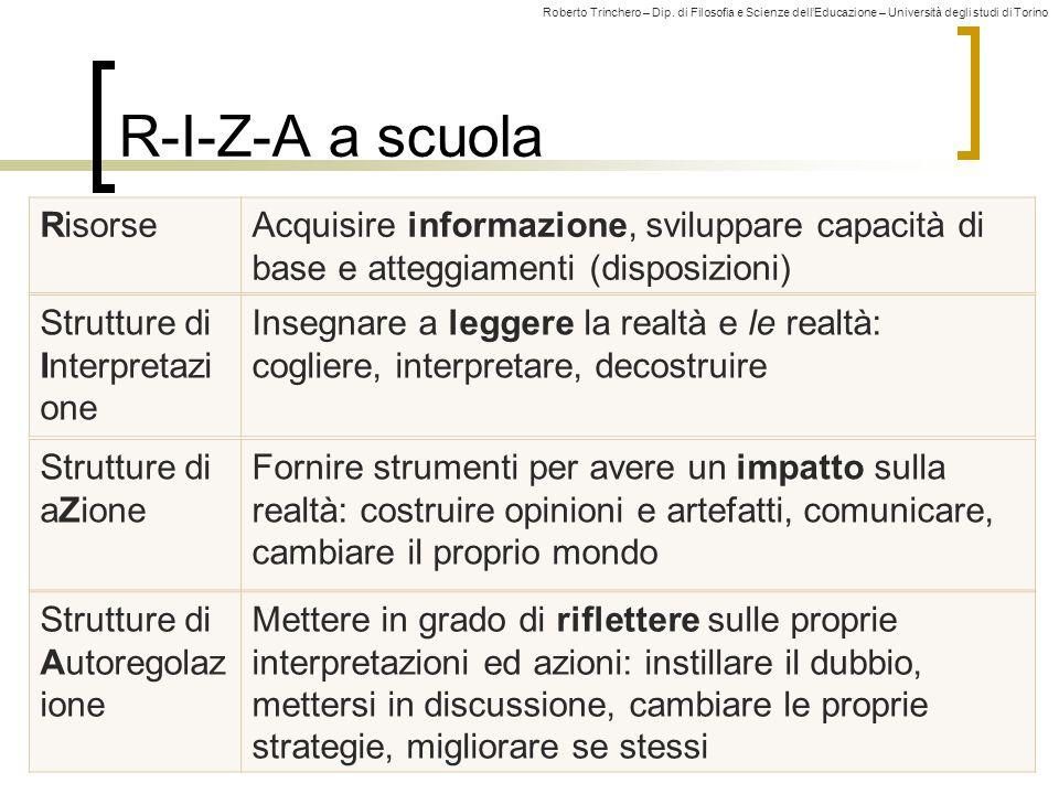 Roberto Trinchero – Dip. di Filosofia e Scienze dell'Educazione – Università degli studi di Torino R-I-Z-A a scuola RisorseAcquisire informazione, svi
