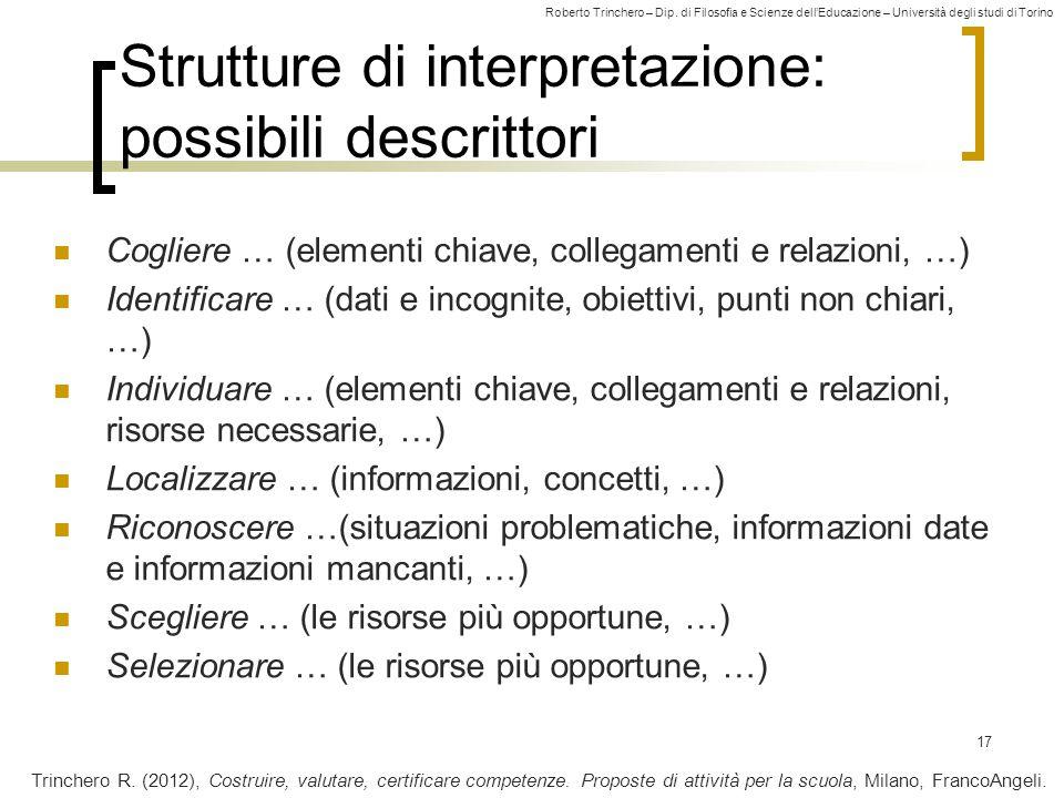 Roberto Trinchero – Dip. di Filosofia e Scienze dell'Educazione – Università degli studi di Torino Strutture di interpretazione: possibili descrittori