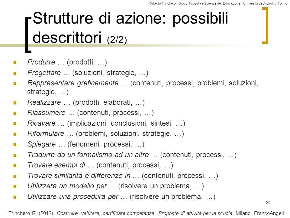 Roberto Trinchero – Dip. di Filosofia e Scienze dell'Educazione – Università degli studi di Torino Strutture di azione: possibili descrittori (2/2) Pr