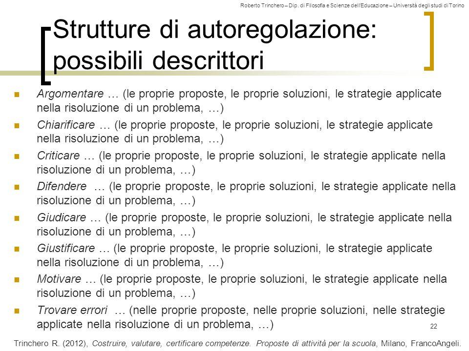Roberto Trinchero – Dip. di Filosofia e Scienze dell'Educazione – Università degli studi di Torino Strutture di autoregolazione: possibili descrittori