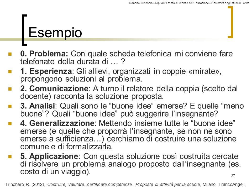 Roberto Trinchero – Dip. di Filosofia e Scienze dell'Educazione – Università degli studi di Torino 27 Esempio 0. Problema: Con quale scheda telefonica