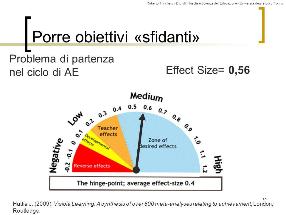 Roberto Trinchero – Dip. di Filosofia e Scienze dell'Educazione – Università degli studi di Torino Effect Size= 0,56 Porre obiettivi «sfidanti» 30 Hat