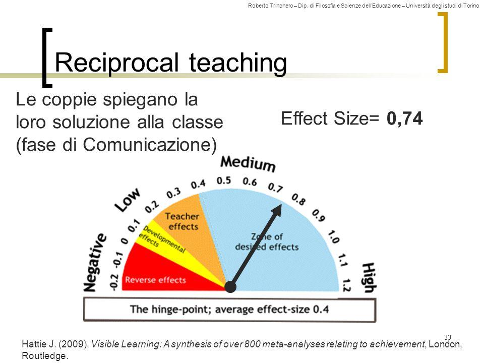 Roberto Trinchero – Dip. di Filosofia e Scienze dell'Educazione – Università degli studi di Torino Effect Size= 0,74 Reciprocal teaching 33 Hattie J.
