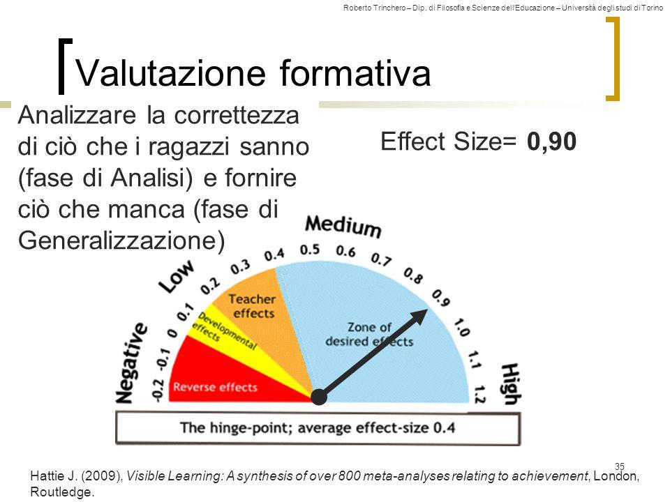 Roberto Trinchero – Dip. di Filosofia e Scienze dell'Educazione – Università degli studi di Torino Effect Size= 0,90 Valutazione formativa 35 Hattie J