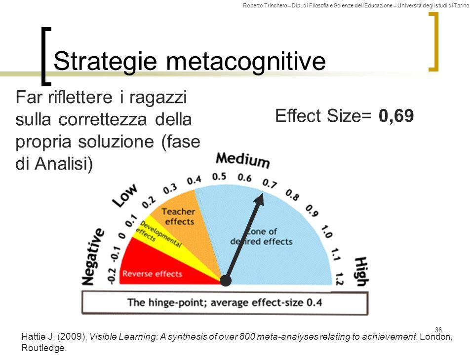 Roberto Trinchero – Dip. di Filosofia e Scienze dell'Educazione – Università degli studi di Torino Effect Size= 0,69 Strategie metacognitive 36 Hattie