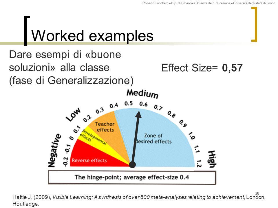 Roberto Trinchero – Dip. di Filosofia e Scienze dell'Educazione – Università degli studi di Torino Effect Size= 0,57 Worked examples 38 Hattie J. (200