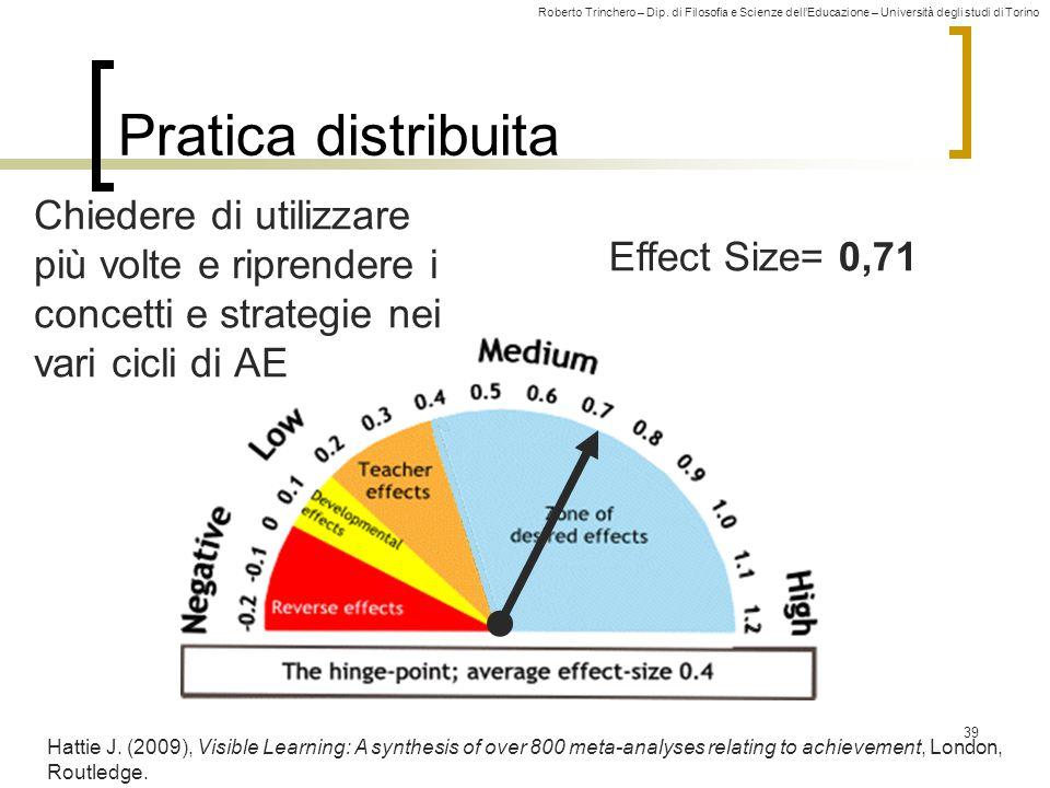 Roberto Trinchero – Dip. di Filosofia e Scienze dell'Educazione – Università degli studi di Torino Effect Size= 0,71 Pratica distribuita 39 Hattie J.