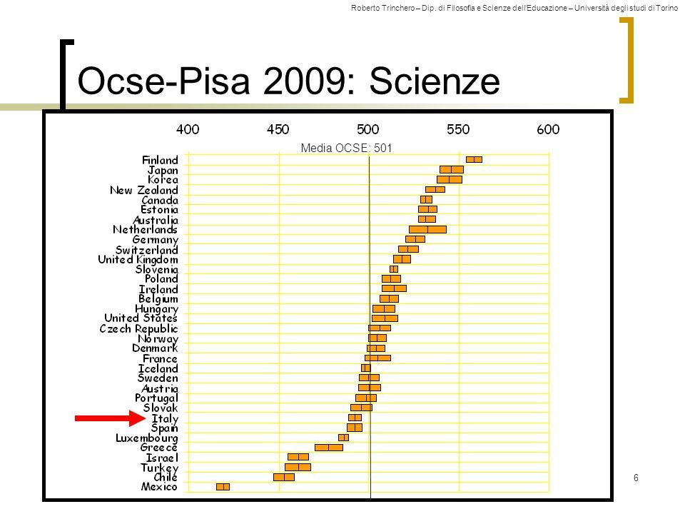 Roberto Trinchero – Dip. di Filosofia e Scienze dell'Educazione – Università degli studi di Torino 6 Ocse-Pisa 2009: Scienze Media OCSE: 501