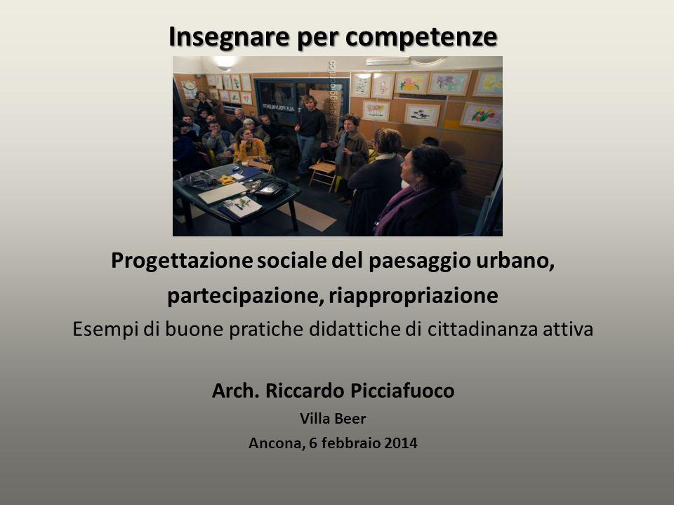 Progettazione sociale del paesaggio urbano, partecipazione, riappropriazione Esempi di buone pratiche didattiche di cittadinanza attiva Arch. Riccardo