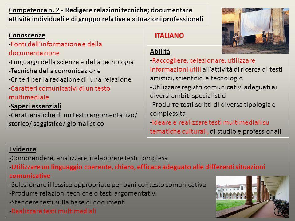 Competenza n. 2 - Redigere relazioni tecniche; documentare attività individuali e di gruppo relative a situazioni professionali Conoscenze -Fonti dell