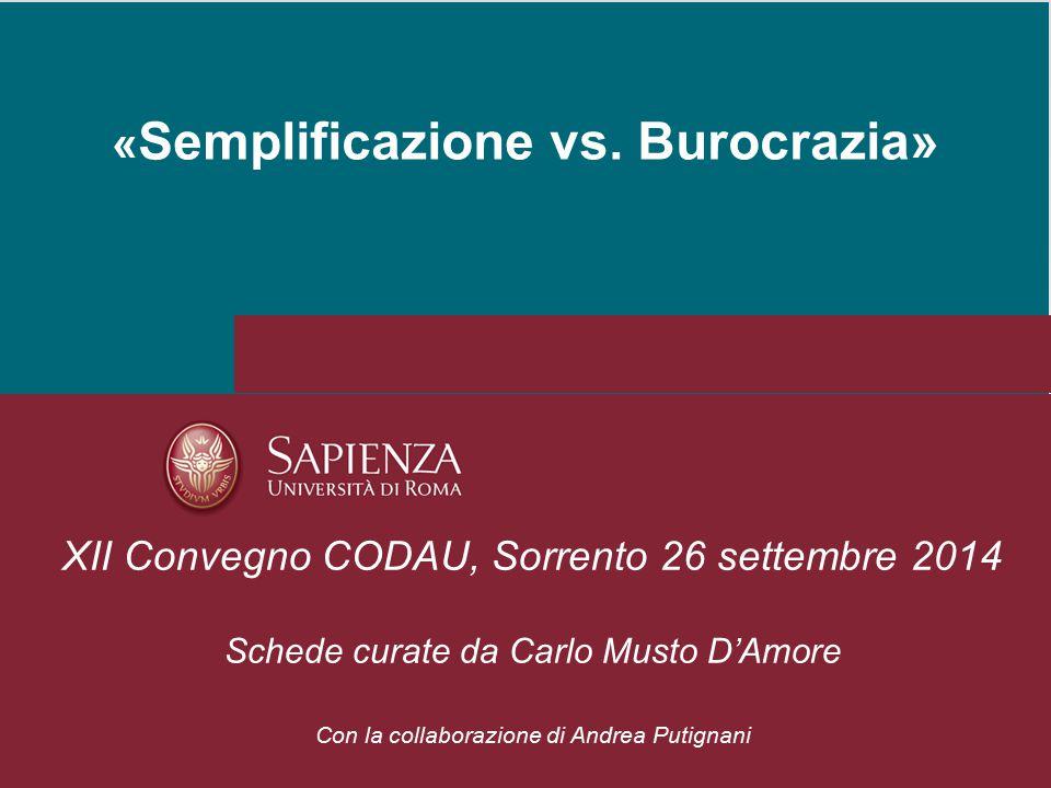 « Semplificazione vs. Burocrazia» XII Convegno CODAU, Sorrento 26 settembre 2014 Schede curate da Carlo Musto D'Amore Con la collaborazione di Andrea
