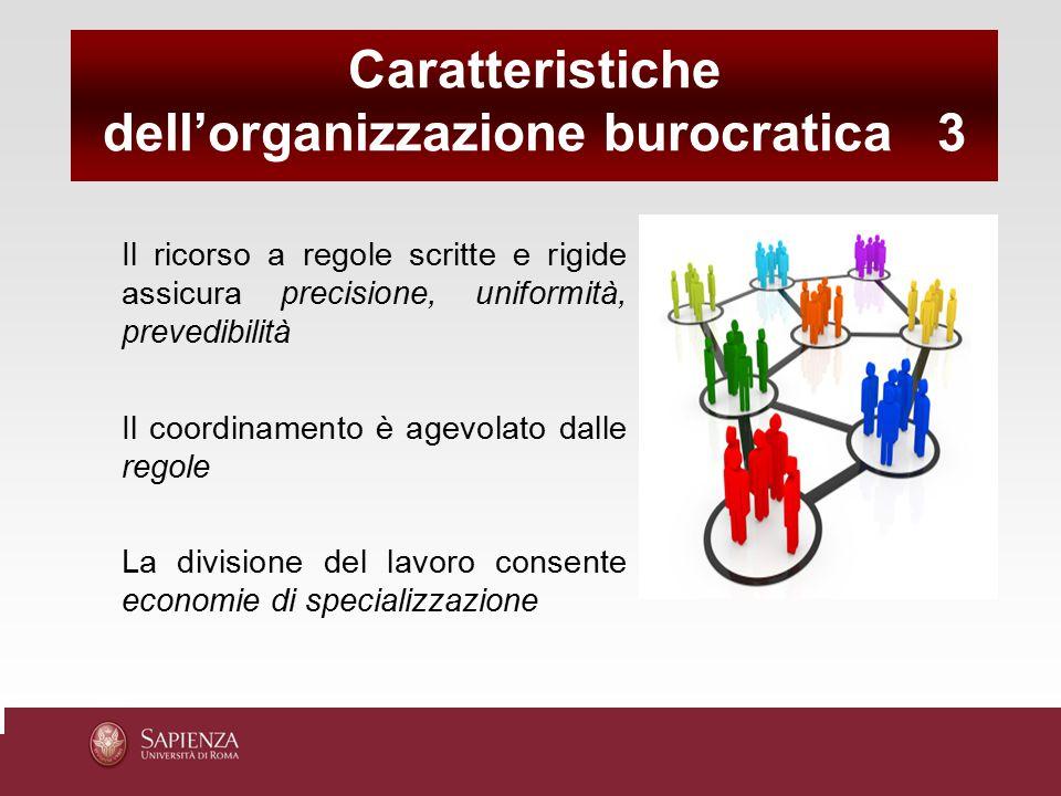 Il ricorso a regole scritte e rigide assicura precisione, uniformità, prevedibilità Il coordinamento è agevolato dalle regole La divisione del lavoro